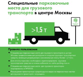 Адреса специальных парковочных мест для грузового транспорта